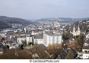 View of town Siegen in North Rhine-Westphalia Germany