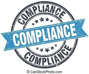 compliance blue round grunge vintage ribbon stamp