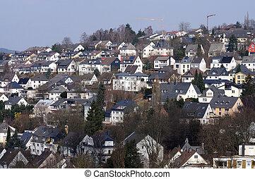 pagórkowata okolica, Domy, Niemiec, miasto, Siegen