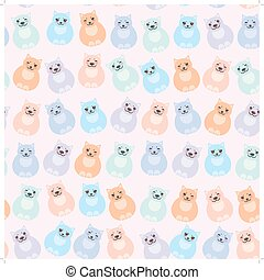 set sitting funny fat cats, pastel colors on white background. Vector