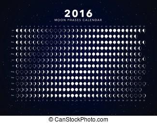 moon phases calendar vector - 2016 moon phases calendar...