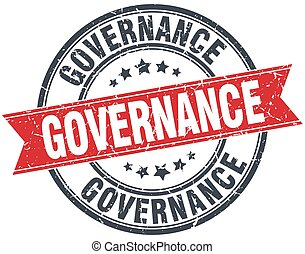governance red round grunge vintage ribbon stamp