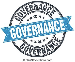 governance blue round grunge vintage ribbon stamp