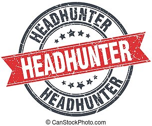 headhunter red round grunge vintage ribbon stamp