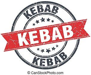 kebab red round grunge vintage ribbon stamp