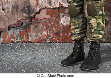 black soldiers boots - illustration of black soldiers boots...