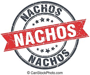 nachos red round grunge vintage ribbon stamp