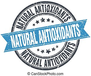natural antioxidants blue round grunge vintage ribbon stamp
