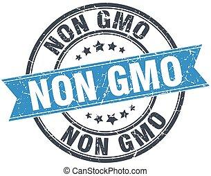 non gmo blue round grunge vintage ribbon stamp