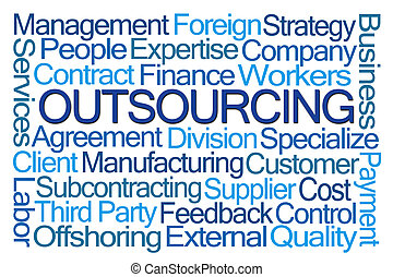 Outsourcing Word Cloud on White Background