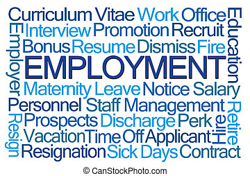 Employment Word Cloud on White Background