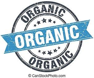 organic blue round grunge vintage ribbon stamp
