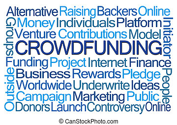 Crowdfunding Word Cloud on White Background