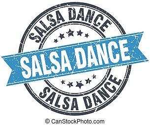salsa dance blue round grunge vintage ribbon stamp