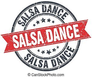 salsa dance red round grunge vintage ribbon stamp