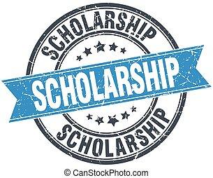 scholarship blue round grunge vintage ribbon stamp