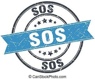 sos blue round grunge vintage ribbon stamp