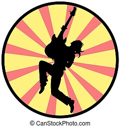 silhouette of a man with guitar