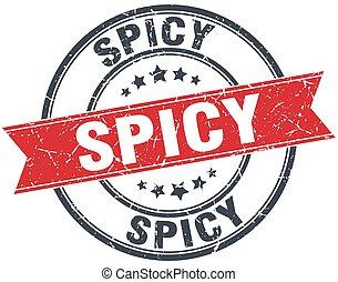 spicy red round grunge vintage ribbon stamp