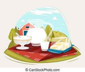Milk farm fresh products. Illustrations with landscape on background.
