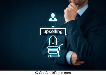 Upselling on-line e-shop marketing concept Sales technique...