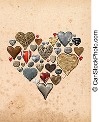 Various hearts in a heart-shape