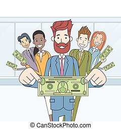 Business People Group Hold Dollar Banknote Concept Finance...