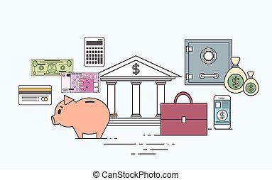 Business Finance Money Concept Bank Save Currency Vector...