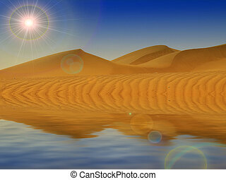 desert  sand and reflection in the water
