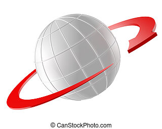 3D rendered Globe with red arrow as orbit Isolated on white