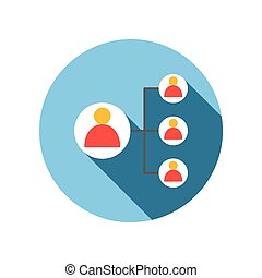 Business connect with leader man flat icon