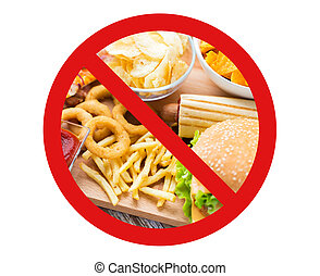 close up of fast food snacks behind no symbol - fast food,...