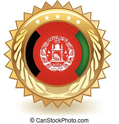 Afghanistan Badge - Gold badge with the flag of Afghanistan.