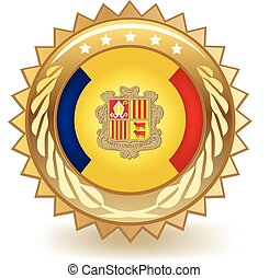 Andorra Badge - Gold badge with the flag of Andorra.