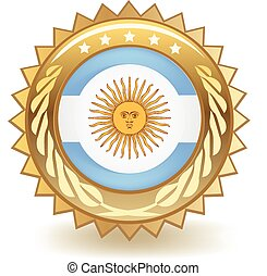 Argentina Badge - Gold badge with the flag of Argentina.