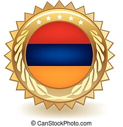 Armenia Badge - Gold badge with the flag of Armenia.