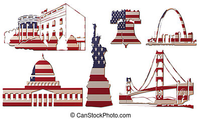 US Landmarks Flag - A 3D metallic assembly of US landmarks...