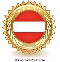 Austria Badge - Gold badge with the flag of Austria.
