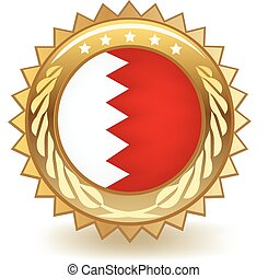 Bahrain Badge - Gold badge with the flag of Bahrain.