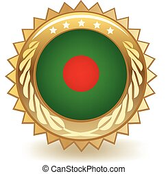 Bangladesh Badge - Gold badge with the flag of Bangladesh