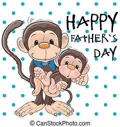 Two Monkeys - Greeting card Two monkeys a father and a baby...