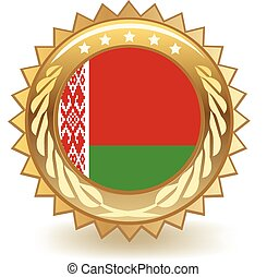 Belarus Badge - Gold badge with the flag of Belarus.