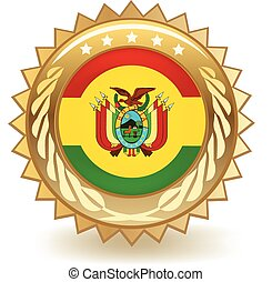 Bolivia Badge - Gold badge with the flag of Bolivia