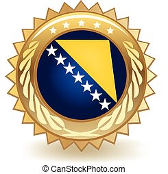 Bosnia nd Herzegovina Badge - Gold badge with the flag of...