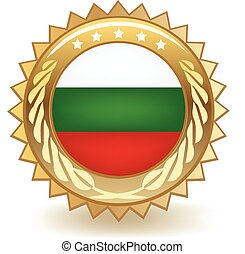 Bulgaria Badge - Gold badge with the flag of Bulgaria