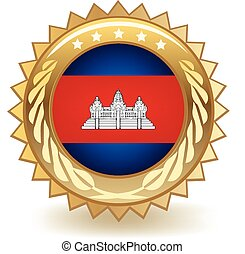 Cambodia Badge - Gold badge with the flag of Cambodia.