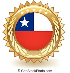Chile Badge - Gold badge with the flag of Chile