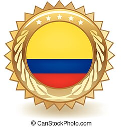 Colombia Badge - Gold badge with the flag of Colombia
