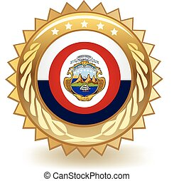 Costa Rica Badge - Gold badge with the flag of Costa Rica
