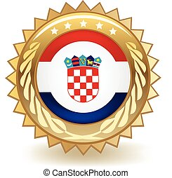Croatia Badge - Gold badge with the flag of Croatia.